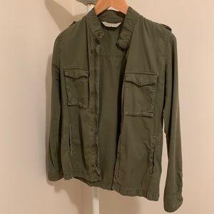 ZARA Olive Green Light-Weighted Denim Jacket, XS